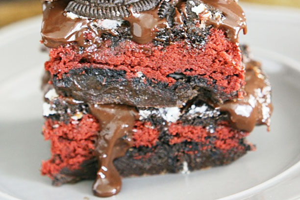 an image of baked red velvet oreo weed brownies